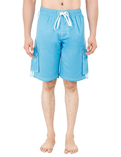 Men's Fashionable and Comfortable Beach Wear Trunk Plain (Color: Turquoise/Size: 2XL) Blue Hawaiian Classic Fabric