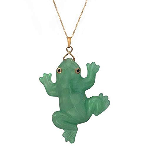 (Regalia by Ulti Ramos 14K Yellow Gold Genuine Green Jade Frog Pendant (18 INCH 14K Gold Chain))