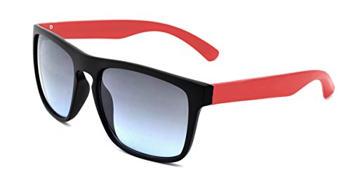 Zoo York Men's Rectangle Sunglasses, Black Frame with Red Temple, Smoke to Blue Lens, - Eyewear Zoo York