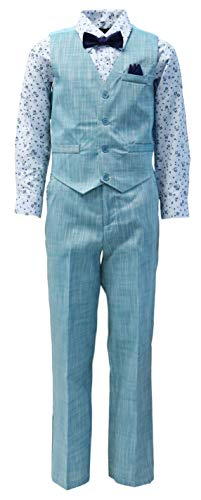 Vittorino Boy's Linen Look 4 Piece Suit Set with Vest Pants Shirt and Tie, Teal - Blue, 14