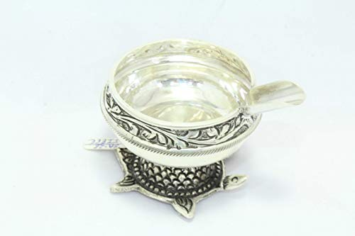 Rajasthan Gems Traditional Handmade 925 Hallmarked Sterling Silver Ashtray Tortoise Stand