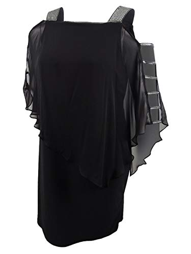 MSK Women's Plus-Size Embellished Chiffon-Overlay Dress (1X, Black)