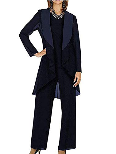 Women's Navy Blue Chiffon Long Sleeves 3-Pieces Mother of Bride Pant Suit Beaded Women Formal Gowns US14 (Beaded 3 Piece Pant)