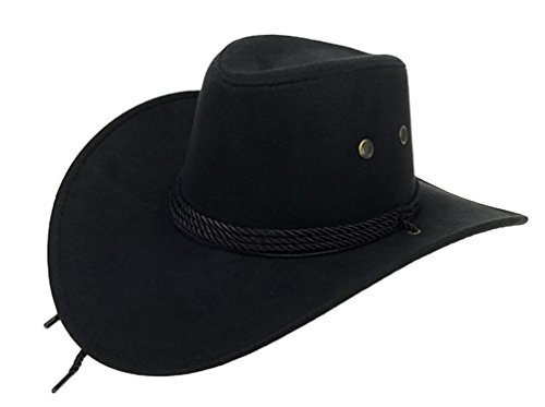 UwantC Mens Faux Felt Western Cowboy Hat Fedora Outdoor Wide Brim Hat with Strap Black]()