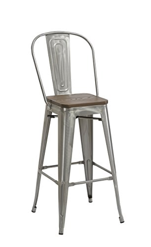 Farmhouse Barstools BTEXPERT 30″ Industrial Clear Metal Vintage Antique Style Distressed Brush Rustic Dining Counter Height Bar Stool Chair High Back Handmade Wood top seat (Set of 4 Barstool) farmhouse barstools