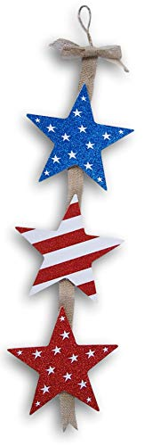 Patriotic Stars Burlap Jointed Hanging Decor Sign - 23 x 7 Inches