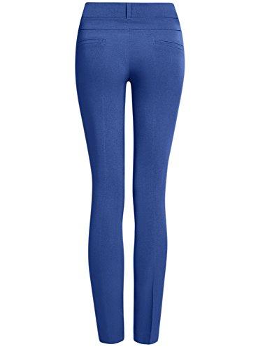 oodji Ultra Mujer Pantalones Stretch Estrechos Azul (7500N)