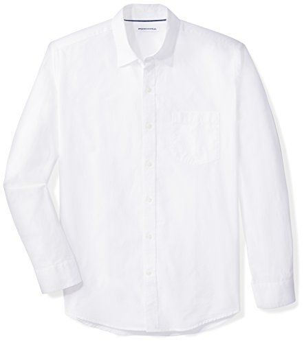 (Amazon Essentials Men's Regular-Fit Long-Sleeve Solid Casual Poplin Shirt, White, X-Large)
