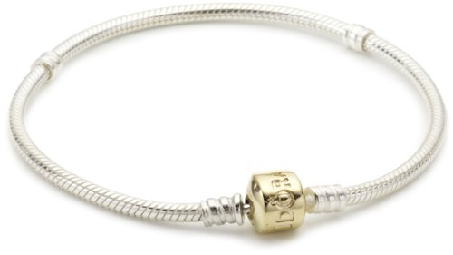 - PANDORA Sterling Silver Charm Bracelet 14K Gold Clasp, 21 cm / 8.3 in