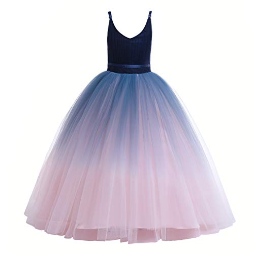 Girls Pretty Dresses (Glamulice Girls Lace Bridesmaid Dress Long A Line Wedding Pageant Dresses Tulle Party Gown Age 3-16Y (5-6Y, Pink/Navy)