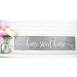 Gray Home Sweet Home Wood Home Wall Décor Sign - Farmhouse Wood Sign Sayings