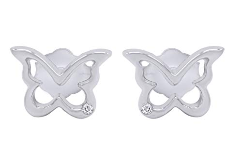 Aria Jewels Diamond Accent Cute Butterfly Stud Earring in 14K White Gold Over Sterling Silver for Women & Girls ()