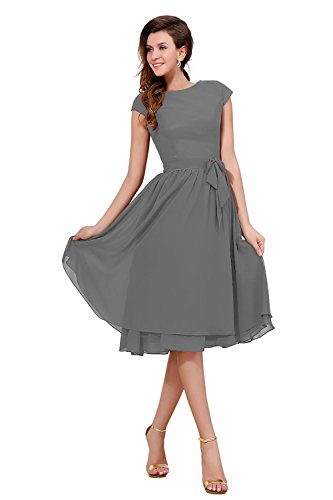 Bess Bridal Women's Cap Sleeve Knee Length Mother Of The Bride Party Dress Size 18W US Steel Grey