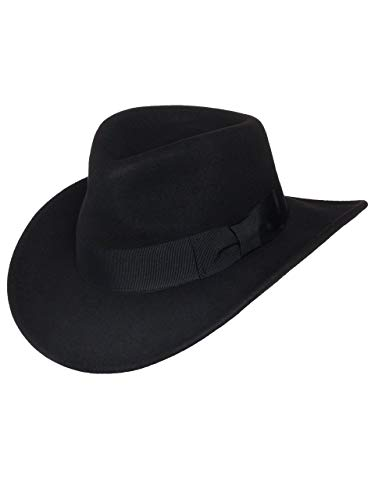 Men's Indiana Outback Fedora Hat Black Crushable Wool Felt by Silver Canyon, Black, Small