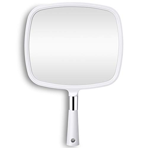 KEDSUM Large Hand Held Mirror with Handle, Hand Mirror Bathroom Makeup Mirror with Hook Hole, White Handheld Mirror for Bathroom, Bedroom, Home Salon 9 W x 13.27 L