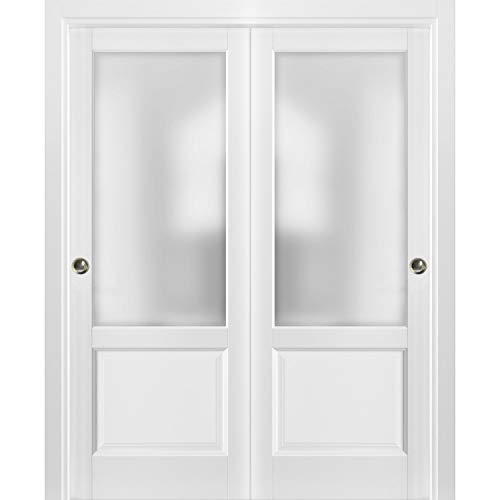 Sliding Closet Bypass Doors 48 x 80 with Hardware   Lucia 22 Matte White with Frosted Opaque Glass   Sturdy Top Mount Rails Moldings Trims Set   Kitchen Lite Wooden Solid Bedroom Wardrobe Doors