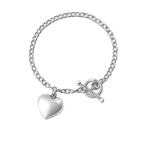 Verona Jewelers Sterling Silver Toggle Heart Charm Bracelet for Women- 7.5inch Heart Tag Bracelet (Silver)