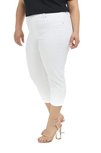 Suko Jeans Women's Denim Capri Pants Plus Size 17412 White -