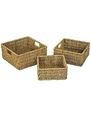 JVL Natural Seagrass Square Storage Baskets with Inset Handles Set of 3