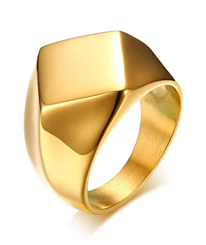 POVANDER Stainless Steel Polished Simple Square Diamond Shaped Signet Ring Band for Men,Gold-Plated 10