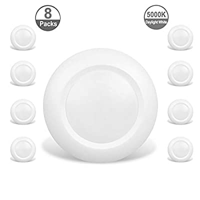 JULLISON 4 Inch LED Low Profile Recessed & Surface Mount Disk Light, Round, 10W, 600 Lumens, 3000K Soft White, CRI80, DOB Design, Dimmable, Energy Star, cETLus Listed, 1 Pack(White) …