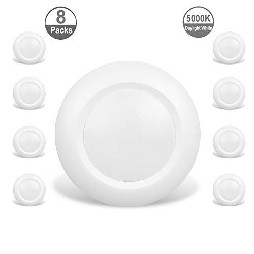 JULLISON 8 Packs 6 Inch LED Low Profile Recessed & Surface Mount Disk Light, Round, 15W, 900 Lumens, 5000K Daylight White, CRI80, Driverless Design, Dimmable, Energy Star, ETL Listed, White ()