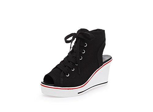 39 Blanco de Color señoras Resorte Deporte Las Negro Negro Toe Lona de de Novedad Gruesos de Zapatillas Botines Botines Las tamaño de tacón para Peep la Zapatos de Mujeres del FxEw4CqCg