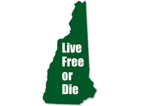 Live Free or Die New Hampshire Shaped Sticker