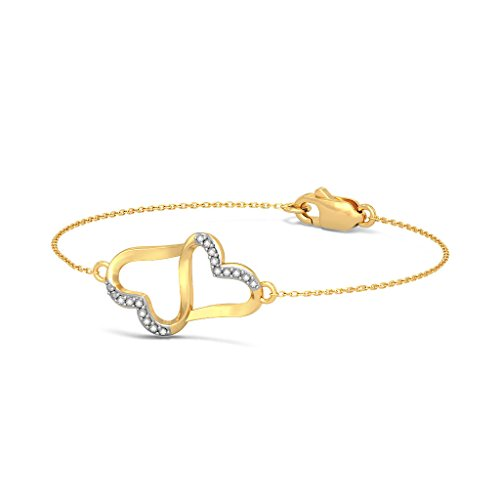 14K Or jaune, 0.09CT TW Round-cut-diamond (Ij| SI) Identification-bracelets