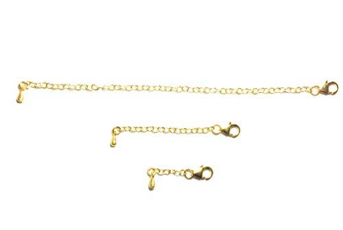 eSILVER Necklace Extender Set, 24K Gold Plated, for Anklet Bracelet Necklace Pendant Chains, 925 Sterling Silver, 1