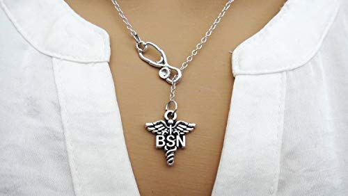 BSN Bachelor of Science Nursing RN Student Graduation Gift Caduceus Stethoscope Lariat Necklace - Antique Silver