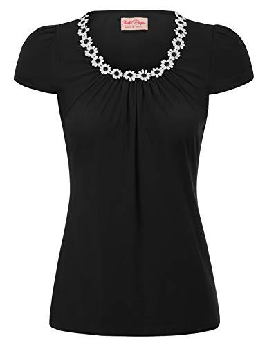 Women's Plus Size Vintage Black Slim Fit Top Tee Daisy Flower Top, X-Large
