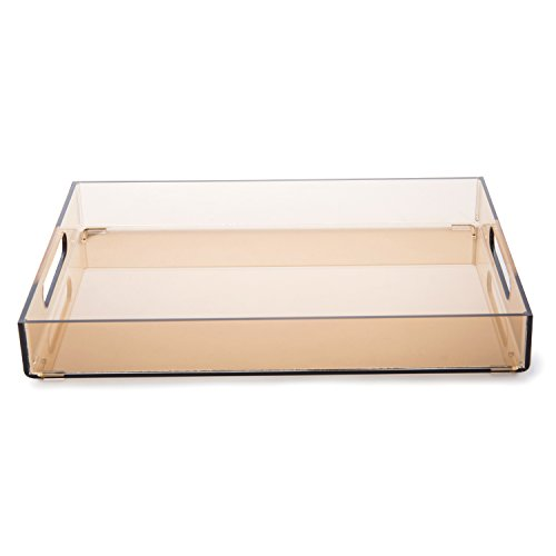 MyGift 14-Inch Premium Transparent Brown Acrylic Multipurpose Butler Serving Tray with Handles