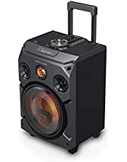 Muse M-1915 Dj - Trolley Party Bluetooth-Luidspreker Met Geel Led-Display, Telescopische Trekgreep En Houten Funier-Behuizing, 150 Watt, Zwart