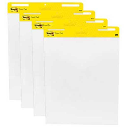 Post-it Easel Pads Self-Stick Easel Pads, 25 x 30, White, 4 30-Sheet Pads/Carton by Post-it