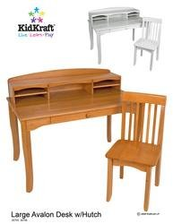 - Avalon Desk with Hutch - White Beds, Bedding, Furniture, Sheets