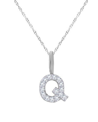 Round Cut White Natural Diamond ''Q'' Initial Letter Pendant Necklace in 10K Solid Gold by Wishrocks