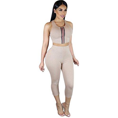 Coohole Fashion Women's Sleeveless Two Piece Suit Outfit Set Top+Pants (Khaki, L) - 4 Piece Cropped Costumes