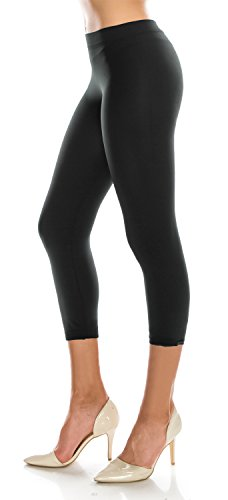 Cropped Footless Tights Leggings Pants (Plus Size (Size 14-20), LG08 Black) (Capri Cropped Tights)