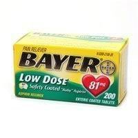 2480108 PT# 262022 Bayer Aspirin Tablet 81mg Safety Coated Low Dose 200/Bt Made by Bayer Consumer Products by BND- Bayer Consumer Products