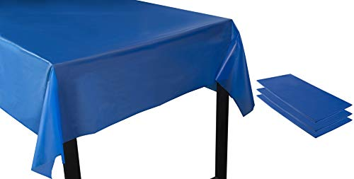 Juvale Royal Blue Plastic Tablecloth - 3-Pack 54 x 108-Inch Rectangle Disposable Graduation Table Cover, Fits up to 8-Foot Tables, Grad Party Decoration Supplies, 4.5 x 9 Feet -