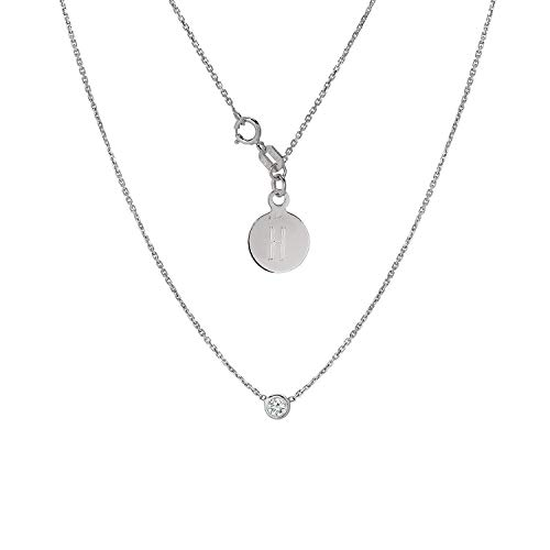 (TousiAttar Diamond Solitaire Necklace - Bezel set Necklaces - Solid 14K or 18 Karat White Gold Pendant - 0.10 ct Natural Stone - Elegant Jewelry Gift - Minimalist Pendants - Free Engraving )