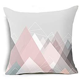 Amesii Letter Flower Geometric Pattern Throw Pillow Case Cushion Cover Home Sofa Decor – 17 Pink Graphic