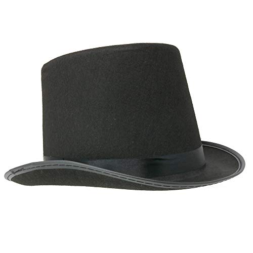 Skeleteen Black Felt Top Hat - Costume Hats for Magician or Ringmaster Costumes - 1 Piece