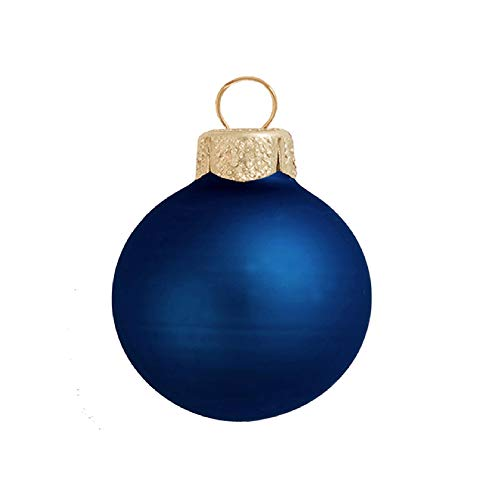 28ct Matte Midnight Blue Glass Ball Christmas Ornaments 2