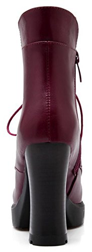 IDIFU Sweet Side Block Ankle Heel Short High Toe Zipper Martin Wine Booties High Round Womens Red rSHq5wxEr