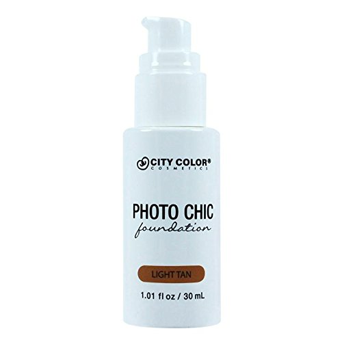 CITY COLOR COSMETICS Photo Chic Liquid Foundation | Oil Free Medium To Full Coverage, Combination Oily Skin (Light Tan) (Best High Coverage Foundation For Combination Skin)
