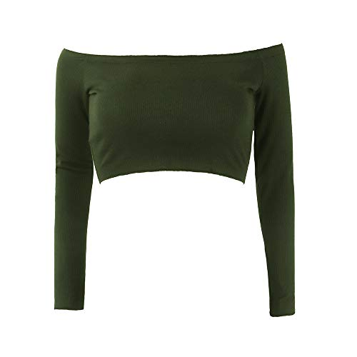 Court paule Green Pull paules Col Crop Manches Army Haut Volants Bateau Nues Boobtube Bralet Longues Top Sexy Femme Chemisier Chic Shirt Tops Blouses T A1qndwg