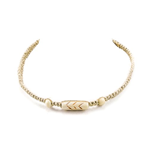 [Hemp Choker Necklace With Bone Tube Natural 1] (Bone Shell Necklace)