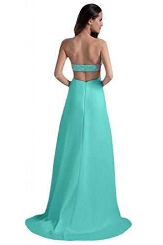 Sunvary donna Chiffon senza spalline schiena aperta perline sera Prom dresses HunterGreen 52